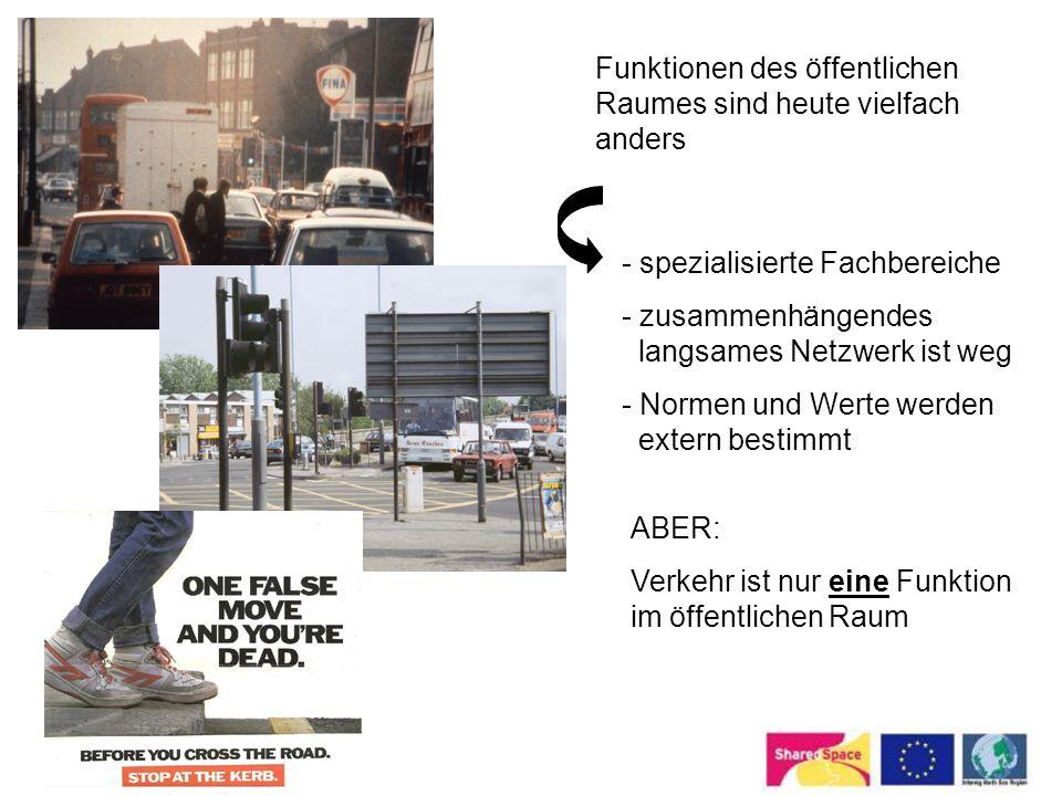 Funktionen des öffentlichen Raumes sind heute vielfach anders - spezialisierte Fachbereiche - zusammenhängendes langsames Netzwerk ist weg - Normen un