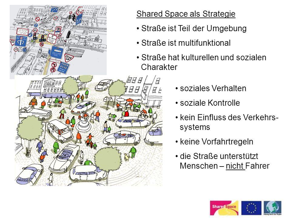Shared Space als Strategie Straße ist Teil der Umgebung Straße ist multifunktional Straße hat kulturellen und sozialen Charakter soziales Verhalten so