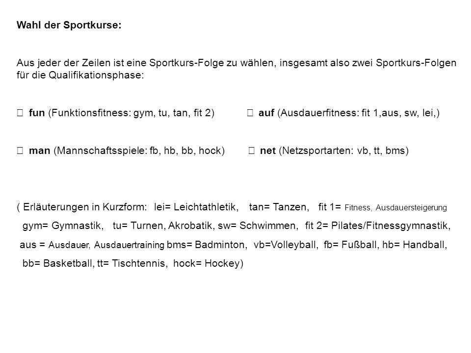 Wahl der Sportkurse: Aus jeder der Zeilen ist eine Sportkurs-Folge zu wählen, insgesamt also zwei Sportkurs-Folgen für die Qualifikationsphase: fun (F