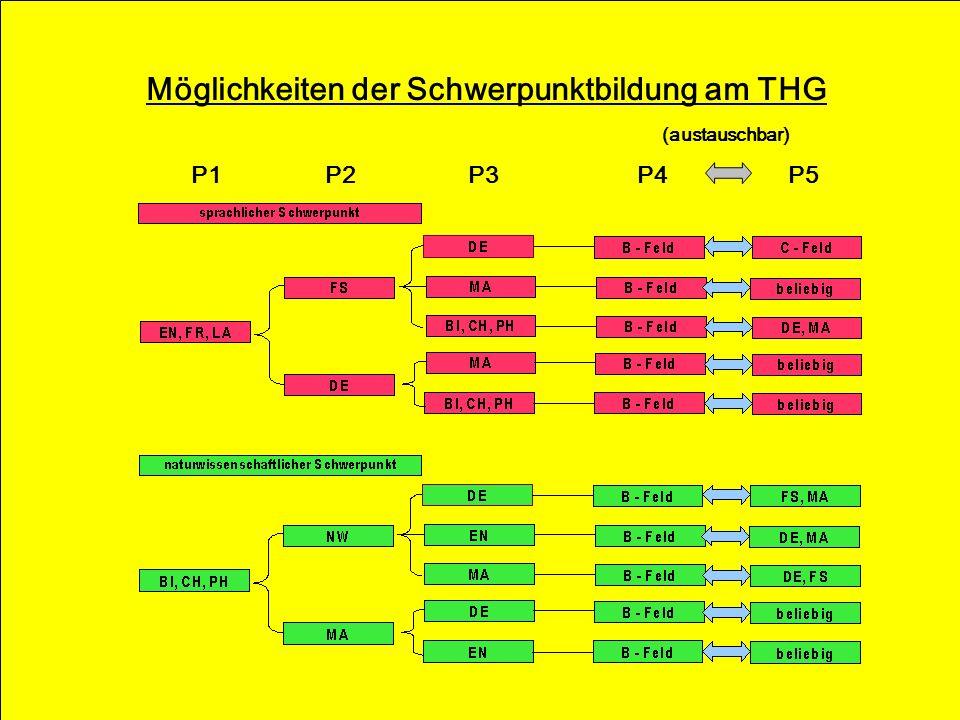 Möglichkeiten der Schwerpunktbildung am THG (austauschbar) P1 P2 P3 P4 P5