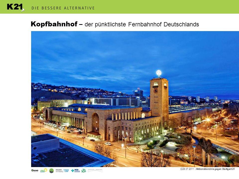29.07.2011 | Aktionsbündnis gegen Stuttgart 21 Es gibt eine bessere Alternative Das ganze Land profitiert von K21 85 % des Kopfbahnhofs K21 existiert heute schon