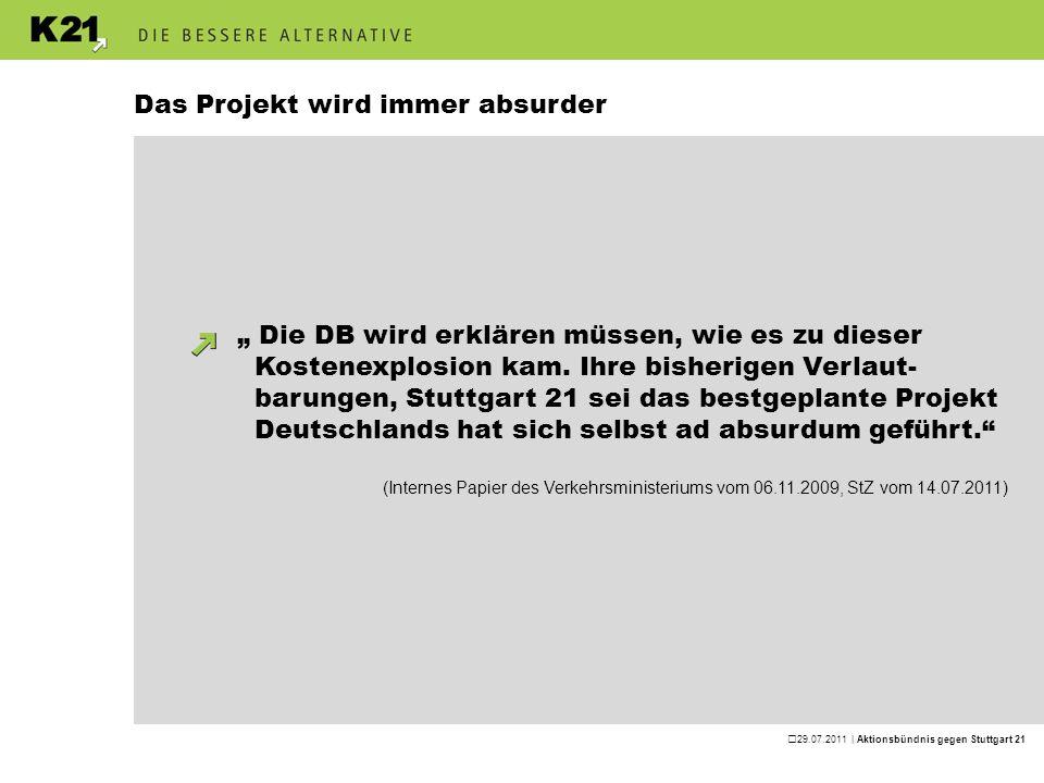29.07.2011 | Aktionsbündnis gegen Stuttgart 21 Das Projekt wird immer absurder · Kostenexplosion