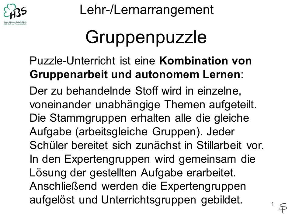 1 Gruppenpuzzle Lehr-/Lernarrangement Puzzle-Unterricht ist eine Kombination von Gruppenarbeit und autonomem Lernen: Der zu behandelnde Stoff wird in