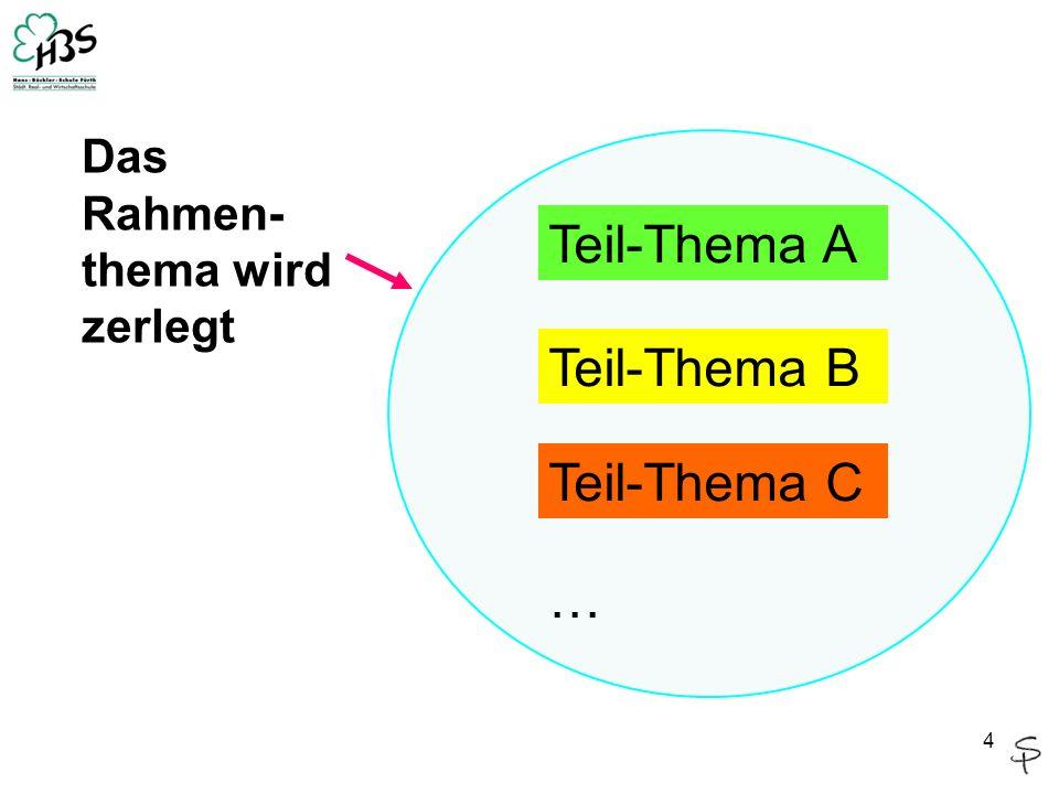 4 Teil-Thema A Teil-Thema B Teil-Thema C … Das Rahmen- thema wird zerlegt