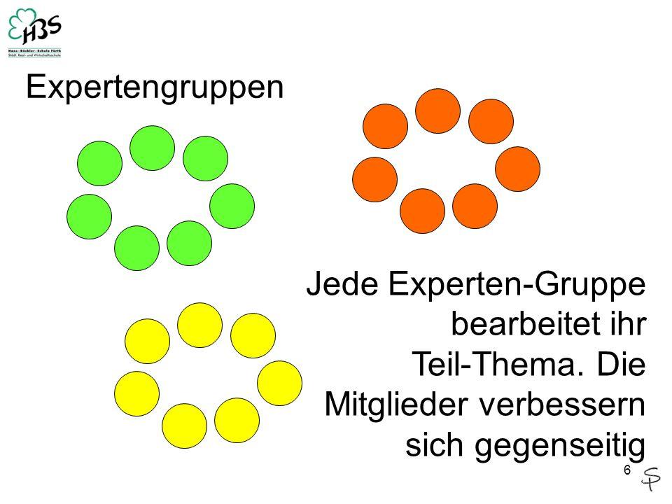 6 Jede Experten-Gruppe bearbeitet ihr Teil-Thema. Die Mitglieder verbessern sich gegenseitig Expertengruppen
