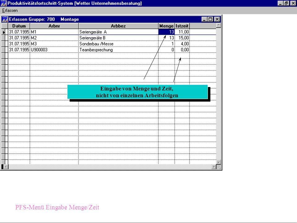 einfache Gruppenauswahl PFS-Menü Eingabe Detail