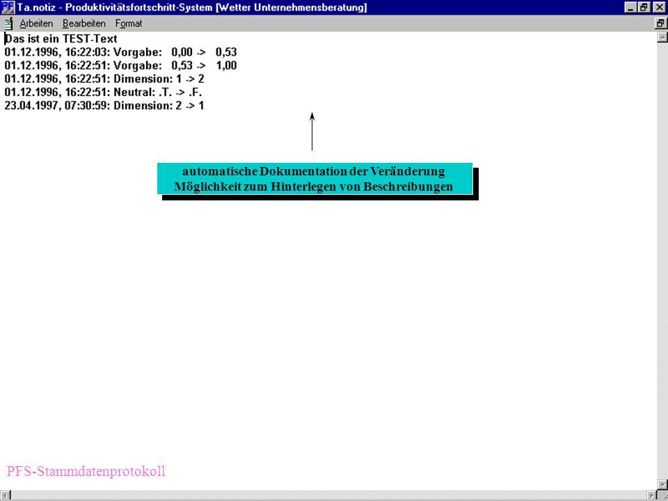 Stammdatenverwaltung Arbeiten PFS-Stammdaten
