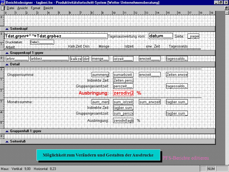 Möglichkeit zum Verknüpfen mit anderen Programmen (hier z.B. Excel) Möglichkeit zum Verknüpfen mit anderen Programmen (hier z.B. Excel) PFS-Ole-Verkn.