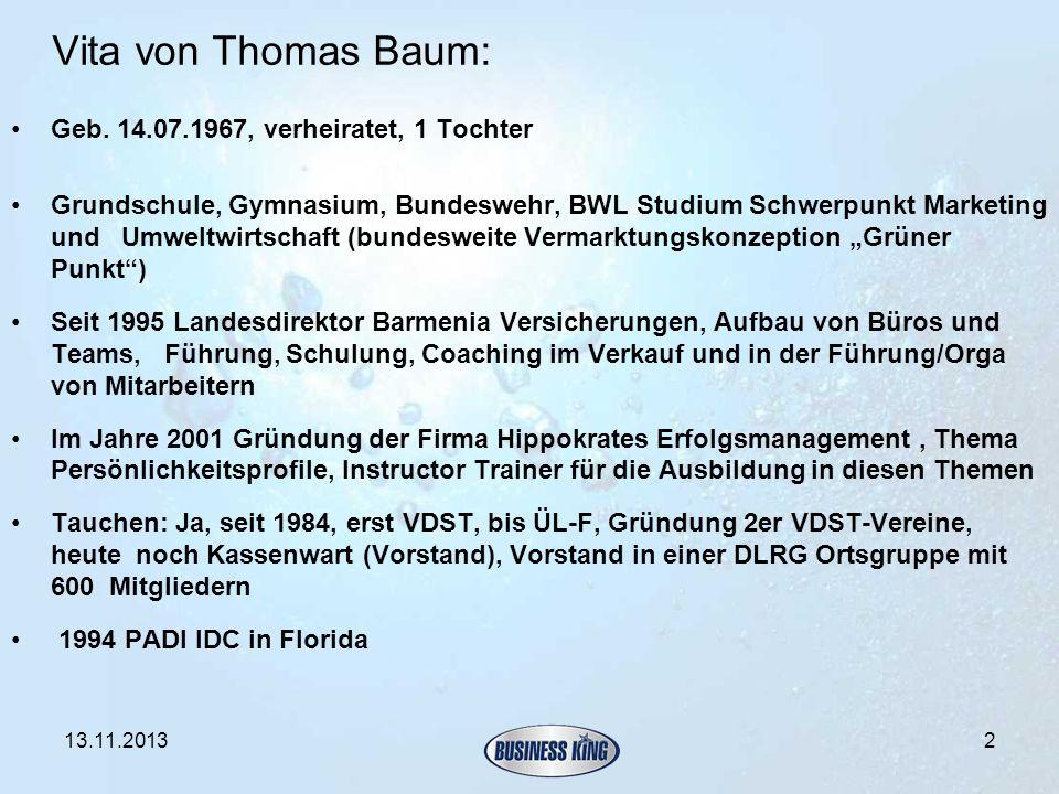 Vita von Thomas Baum: Geb. 14.07.1967, verheiratet, 1 Tochter Grundschule, Gymnasium, Bundeswehr, BWL Studium Schwerpunkt Marketing und Umweltwirtscha