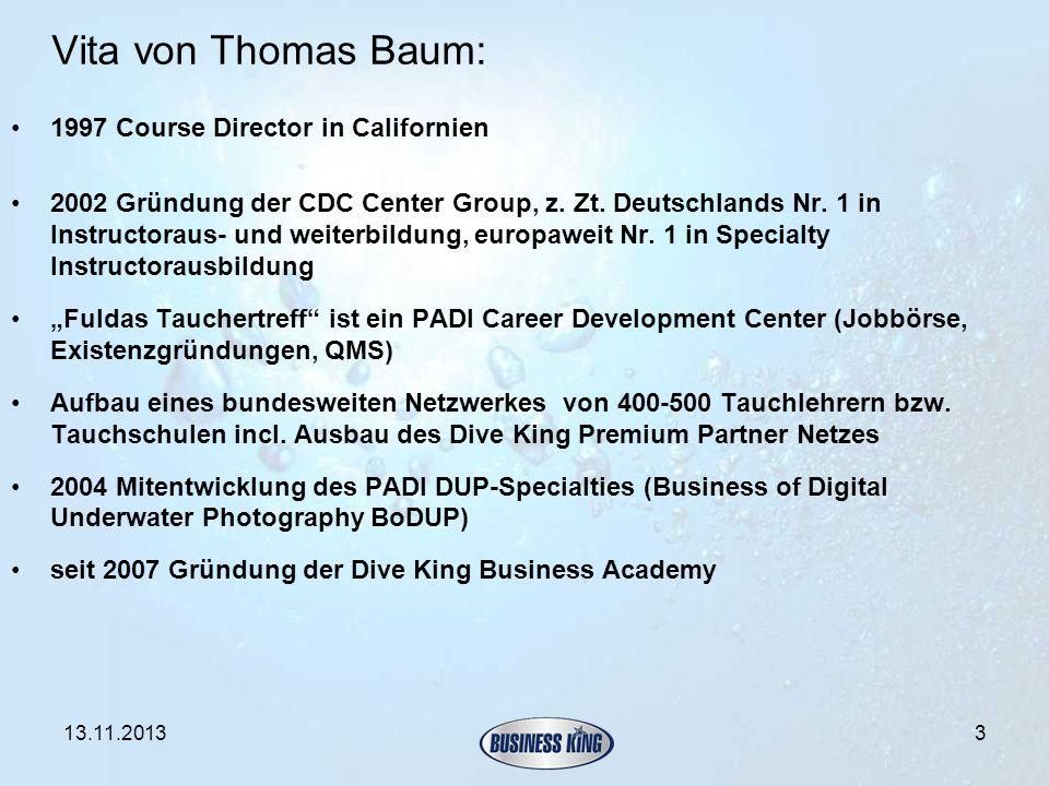 Vita von Thomas Baum: 1997 Course Director in Californien 2002 Gründung der CDC Center Group, z. Zt. Deutschlands Nr. 1 in Instructoraus- und weiterbi