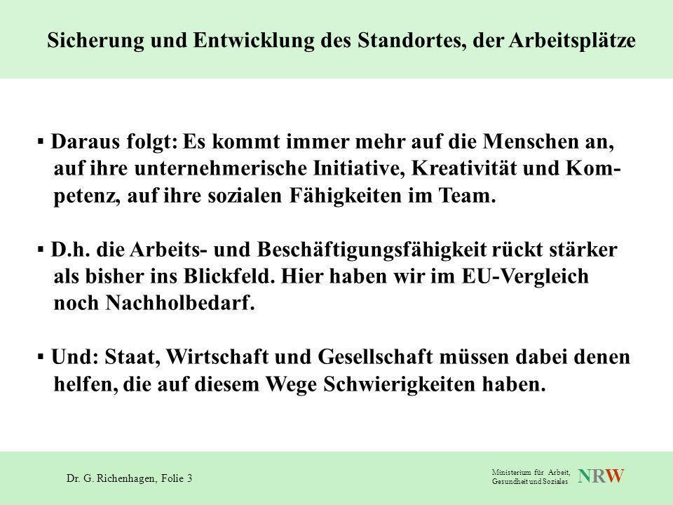 Dr. G. Richenhagen, Folie 3 NRWNRW Ministerium für Arbeit, Gesundheit und Soziales Daraus folgt: Es kommt immer mehr auf die Menschen an, auf ihre unt