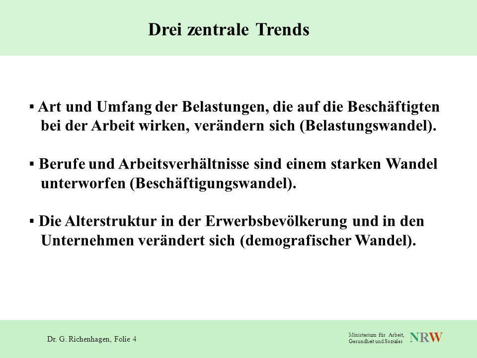 Dr. G. Richenhagen, Folie 4 NRWNRW Ministerium für Arbeit, Gesundheit und Soziales Drei zentrale Trends Art und Umfang der Belastungen, die auf die Be