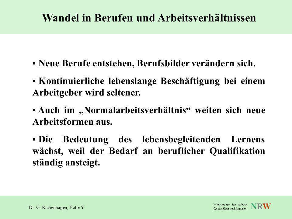 Dr. G. Richenhagen, Folie 9 NRWNRW Ministerium für Arbeit, Gesundheit und Soziales Wandel in Berufen und Arbeitsverhältnissen Neue Berufe entstehen, B