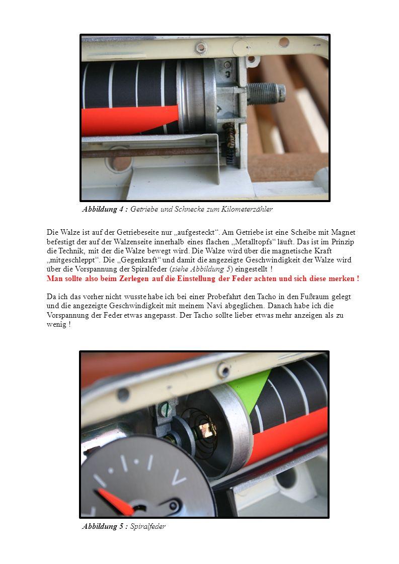 Die Walze ist auf der Getriebeseite nur aufgesteckt. Am Getriebe ist eine Scheibe mit Magnet befestigt der auf der Walzenseite innerhalb eines flachen