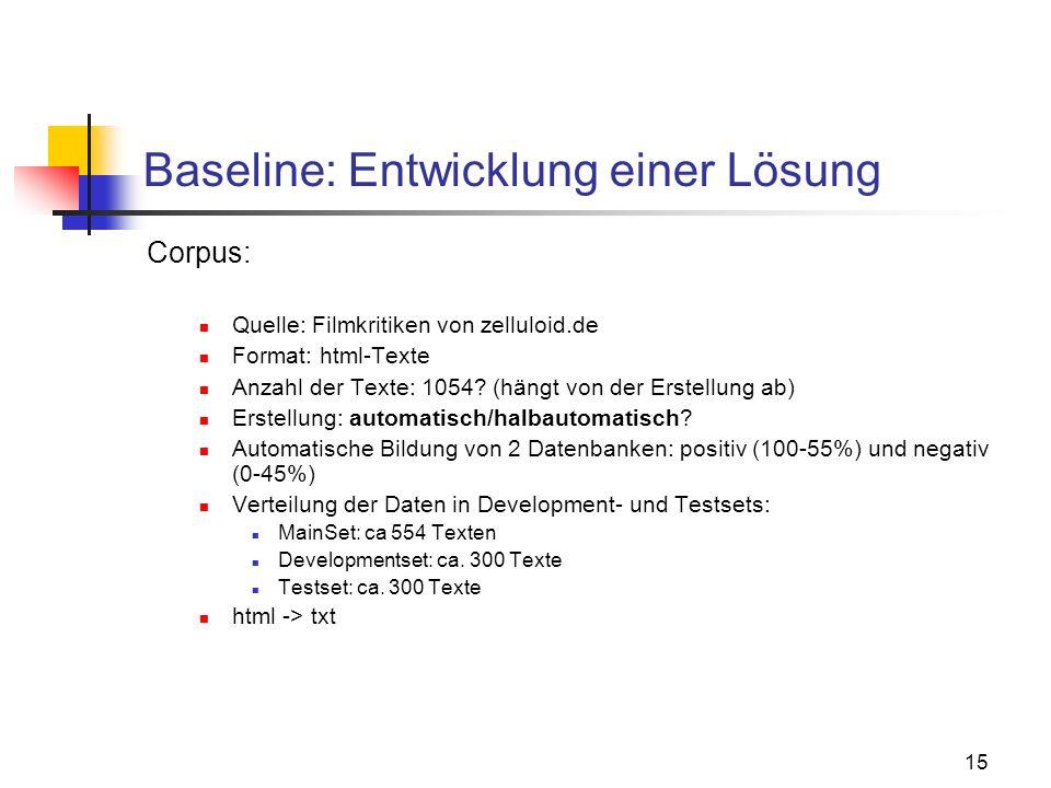 15 Baseline: Entwicklung einer Lösung Corpus: Quelle: Filmkritiken von zelluloid.de Format: html-Texte Anzahl der Texte: 1054? (hängt von der Erstellu