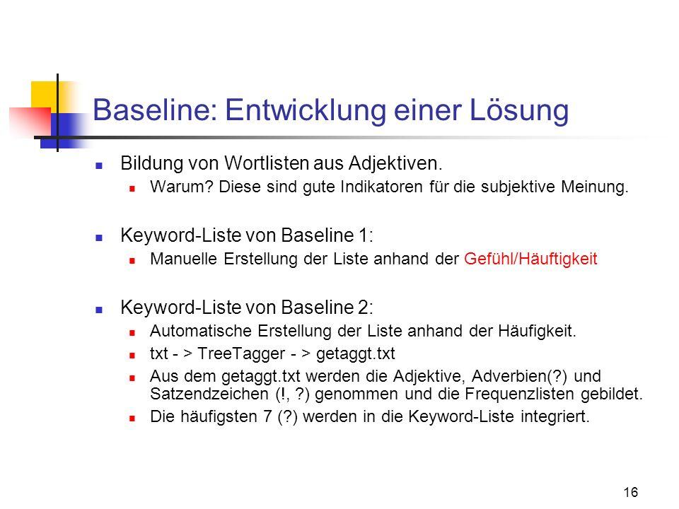 16 Baseline: Entwicklung einer Lösung Bildung von Wortlisten aus Adjektiven. Warum? Diese sind gute Indikatoren für die subjektive Meinung. Keyword-Li
