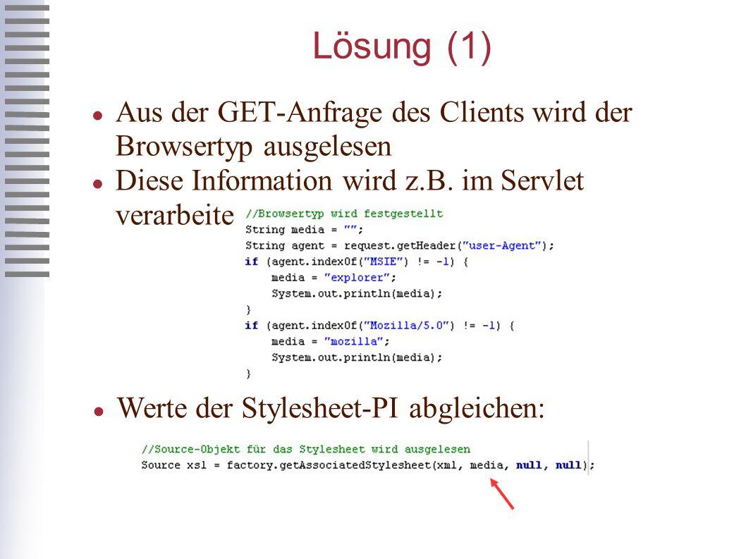 Lösung (1) Aus der GET-Anfrage des Clients wird der Browsertyp ausgelesen Diese Information wird z.B.