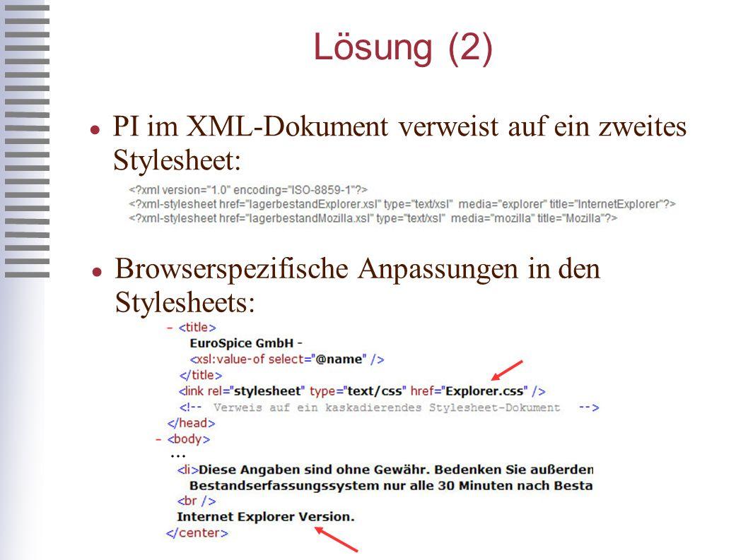 Lösung (2) PI im XML-Dokument verweist auf ein zweites Stylesheet: Browserspezifische Anpassungen in den Stylesheets:...