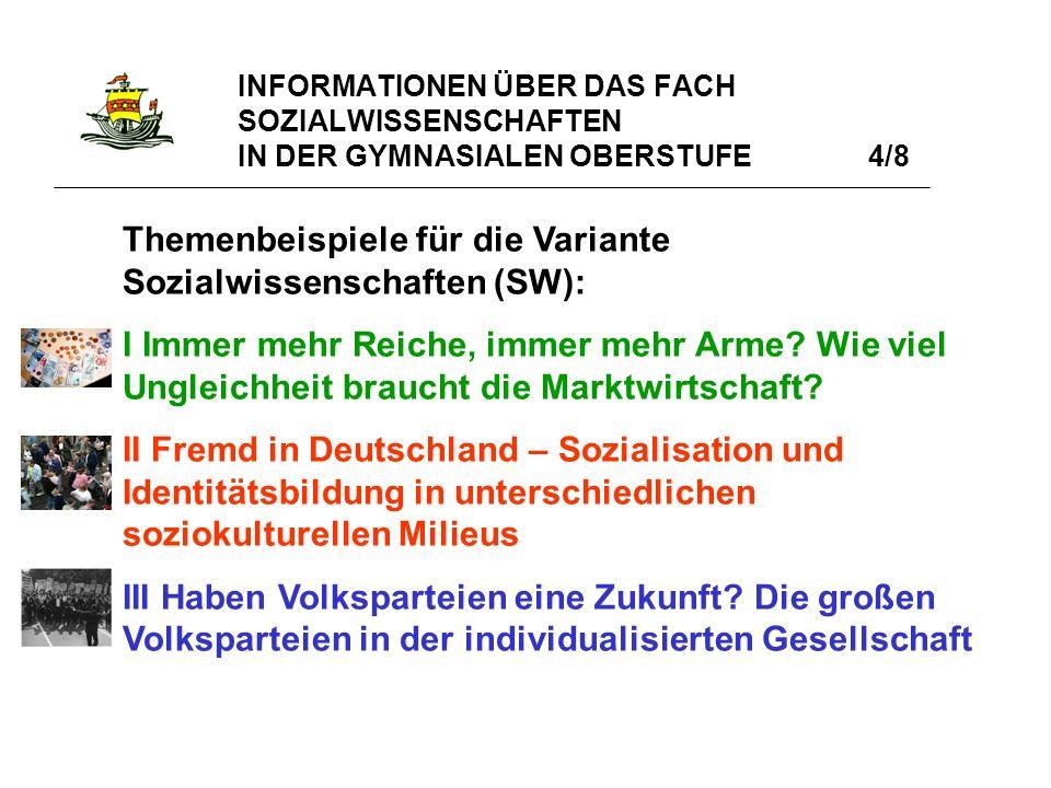 INFORMATIONEN ÜBER DAS FACH SOZIALWISSENSCHAFTEN IN DER GYMNASIALEN OBERSTUFE 5/8 IV Mit Ökonomie zur Ökologie.