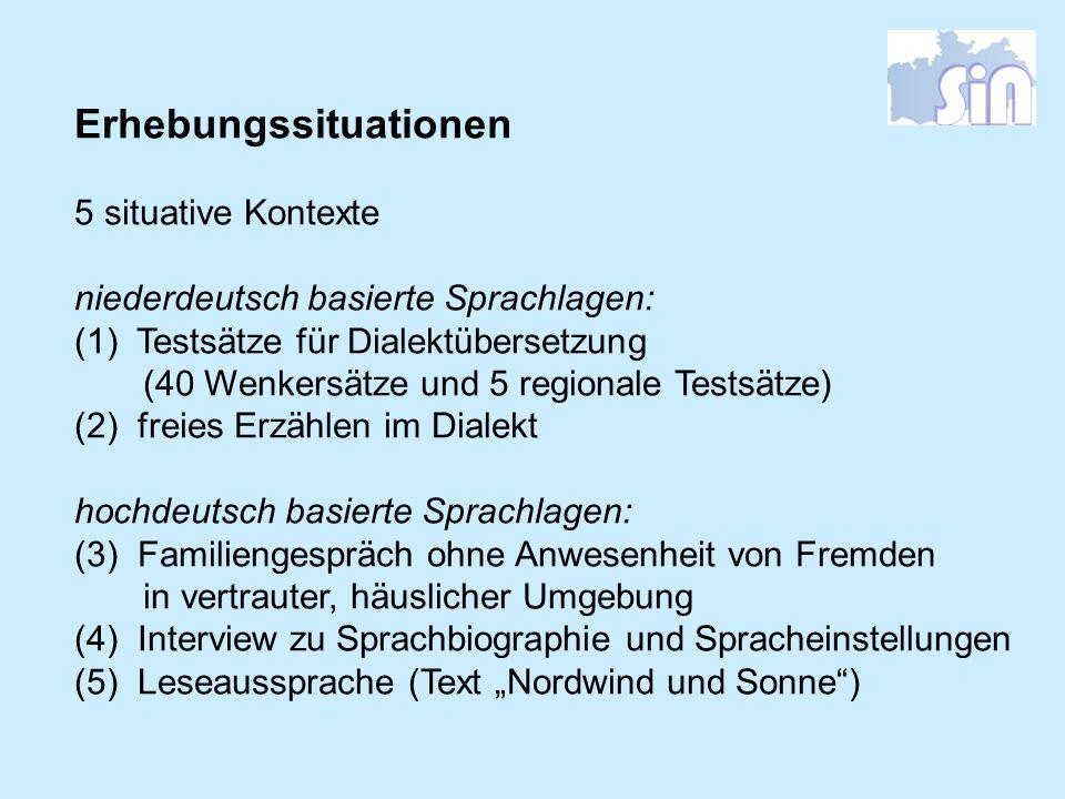 Erhebungssituationen 5 situative Kontexte niederdeutsch basierte Sprachlagen: (1) Testsätze für Dialektübersetzung (40 Wenkersätze und 5 regionale Tes