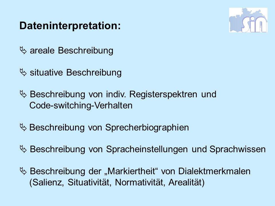 Dateninterpretation: areale Beschreibung situative Beschreibung Beschreibung von indiv. Registerspektren und Code-switching-Verhalten Beschreibung von