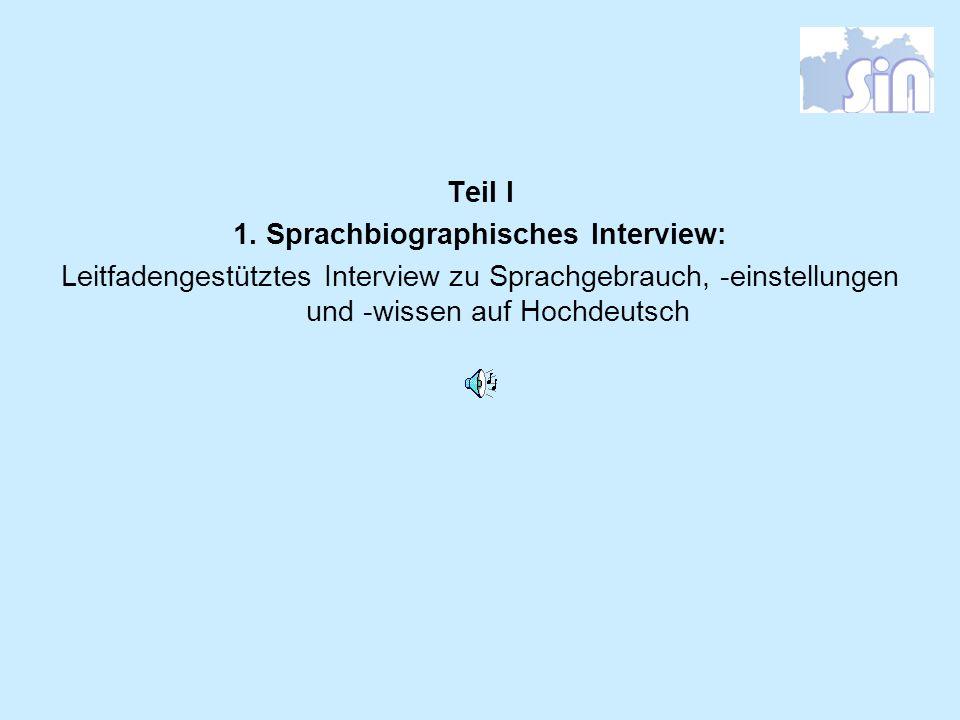 Teil I 1. Sprachbiographisches Interview: Leitfadengestütztes Interview zu Sprachgebrauch, -einstellungen und -wissen auf Hochdeutsch