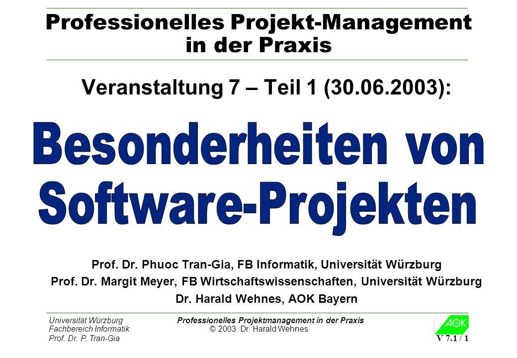Universität Würzburg Professionelles Projektmanagement in der Praxis Fachbereich Informatik © 2003 Dr. Harald Wehnes Prof. Dr. P. Tran-Gia V 7.1 / 1 P