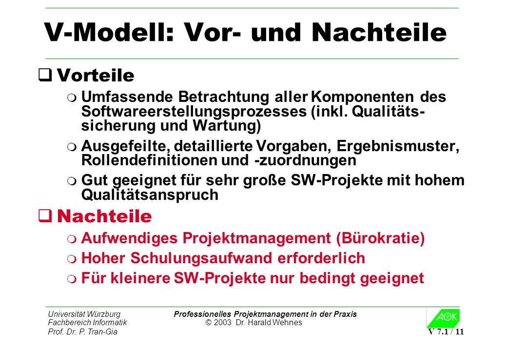 Universität Würzburg Professionelles Projektmanagement in der Praxis Fachbereich Informatik © 2003 Dr. Harald Wehnes Prof. Dr. P. Tran-Gia V 7.1 / 11