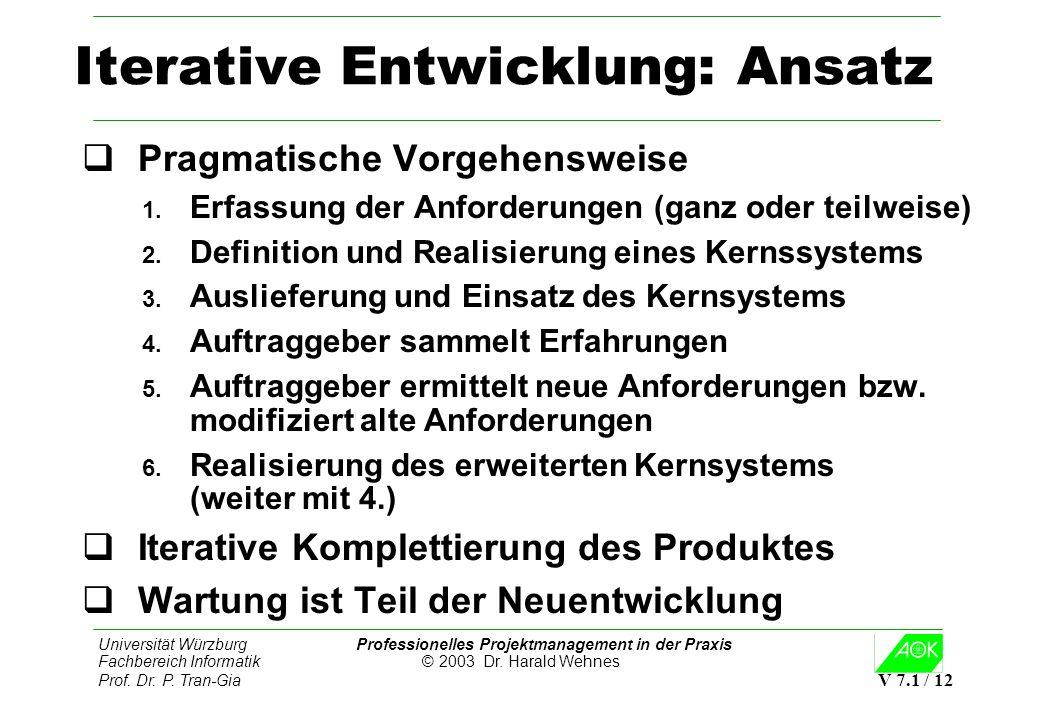 Universität Würzburg Professionelles Projektmanagement in der Praxis Fachbereich Informatik © 2003 Dr. Harald Wehnes Prof. Dr. P. Tran-Gia V 7.1 / 12