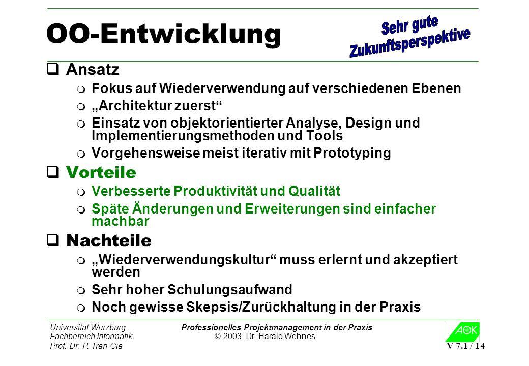 Universität Würzburg Professionelles Projektmanagement in der Praxis Fachbereich Informatik © 2003 Dr. Harald Wehnes Prof. Dr. P. Tran-Gia V 7.1 / 14