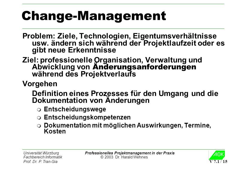 Universität Würzburg Professionelles Projektmanagement in der Praxis Fachbereich Informatik © 2003 Dr. Harald Wehnes Prof. Dr. P. Tran-Gia V 7.1 / 15