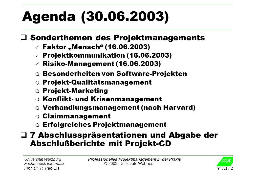 Universität Würzburg Professionelles Projektmanagement in der Praxis Fachbereich Informatik © 2003 Dr. Harald Wehnes Prof. Dr. P. Tran-Gia V 7.1 / 2 A
