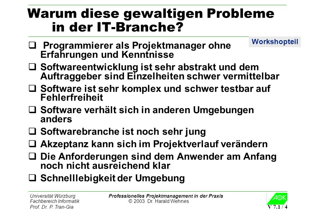 Universität Würzburg Professionelles Projektmanagement in der Praxis Fachbereich Informatik © 2003 Dr. Harald Wehnes Prof. Dr. P. Tran-Gia V 7.1 / 4 W