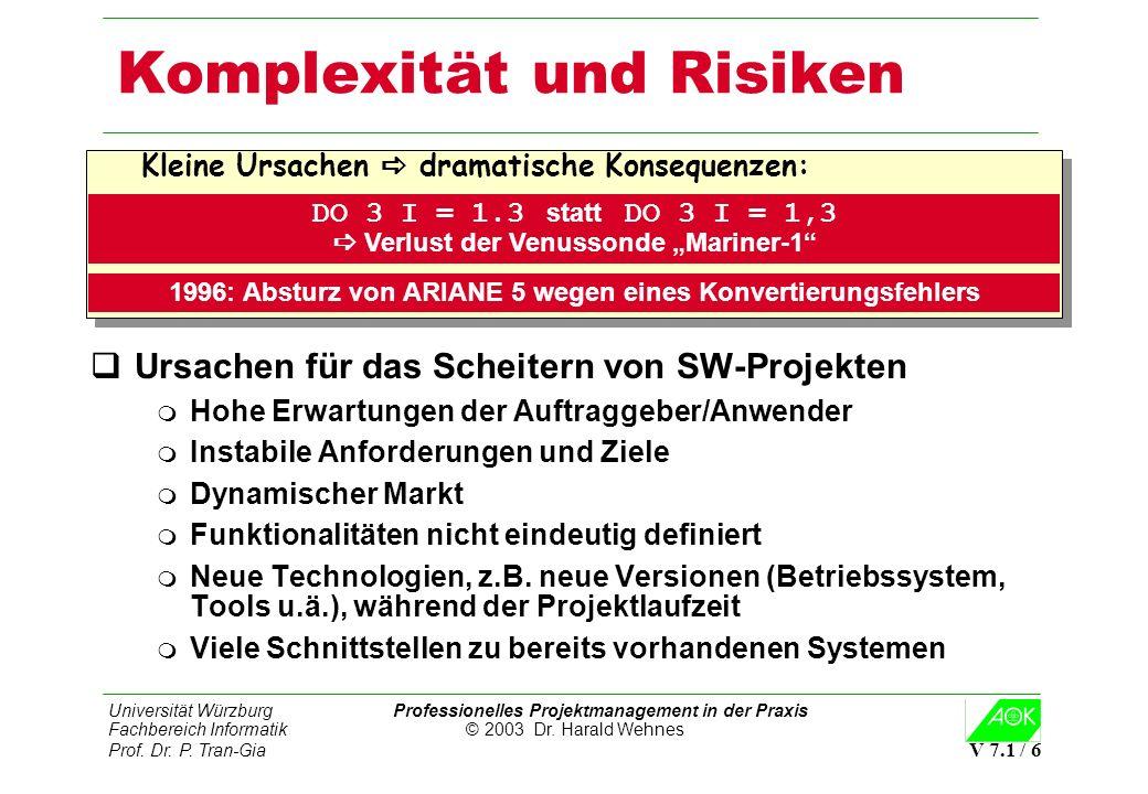 Universität Würzburg Professionelles Projektmanagement in der Praxis Fachbereich Informatik © 2003 Dr. Harald Wehnes Prof. Dr. P. Tran-Gia V 7.1 / 6 K