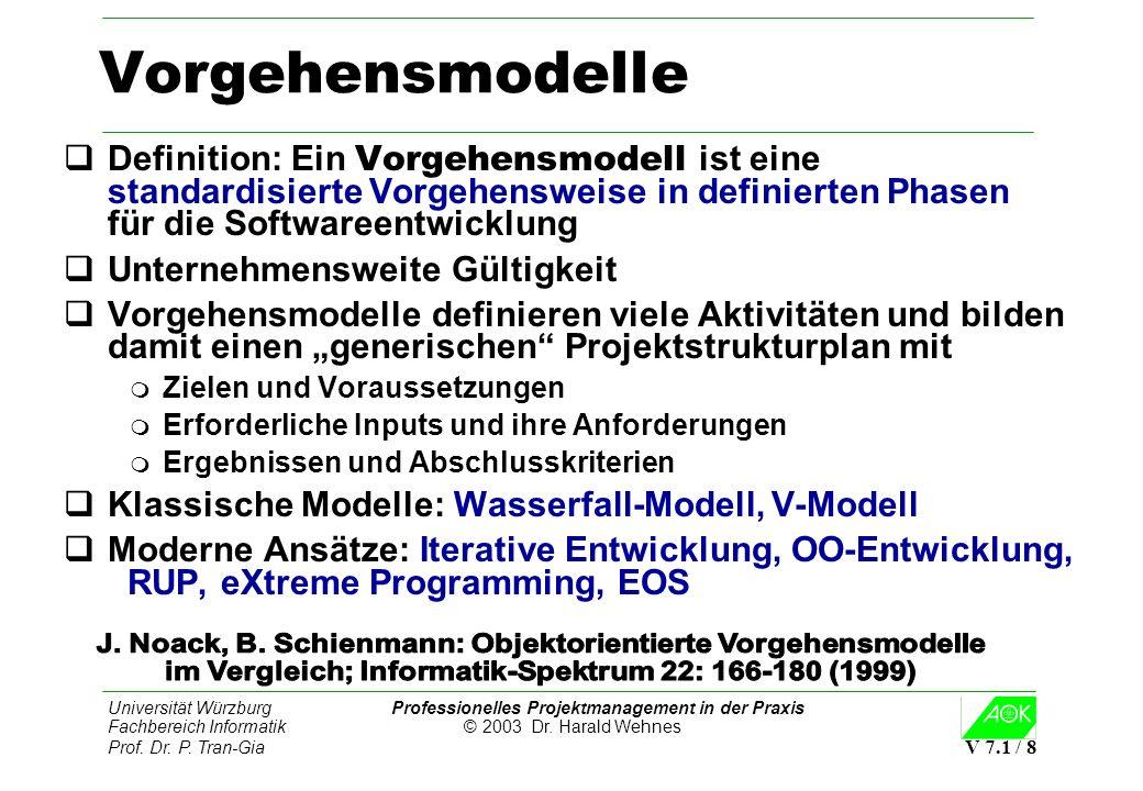 Universität Würzburg Professionelles Projektmanagement in der Praxis Fachbereich Informatik © 2003 Dr. Harald Wehnes Prof. Dr. P. Tran-Gia V 7.1 / 8 V
