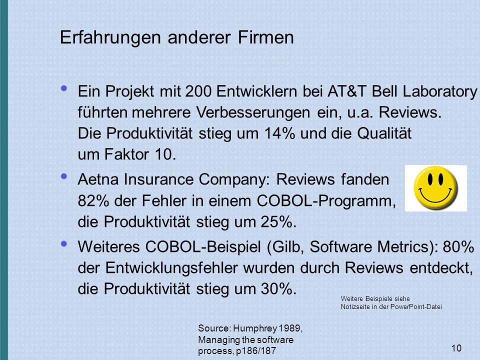 10 Erfahrungen anderer Firmen Source: Humphrey 1989, Managing the software process, p186/187 Ein Projekt mit 200 Entwicklern bei AT&T Bell Laboratory führten mehrere Verbesserungen ein, u.a.