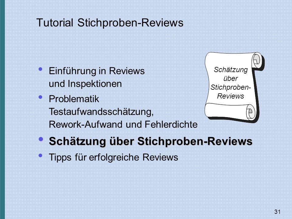 31 Tutorial Stichproben-Reviews Schätzung über Stichproben- Reviews Einführung in Reviews und Inspektionen Problematik Testaufwandsschätzung, Rework-Aufwand und Fehlerdichte Schätzung über Stichproben-Reviews Schätzung über Stichproben-Reviews Tipps für erfolgreiche Reviews
