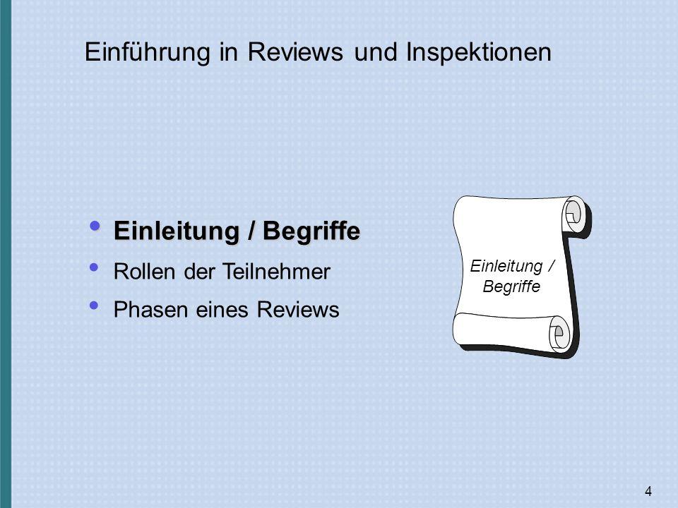 4 Einführung in Reviews und Inspektionen Einleitung / Begriffe Einleitung / Begriffe Rollen der Teilnehmer Phasen eines Reviews Einleitung / Begriffe