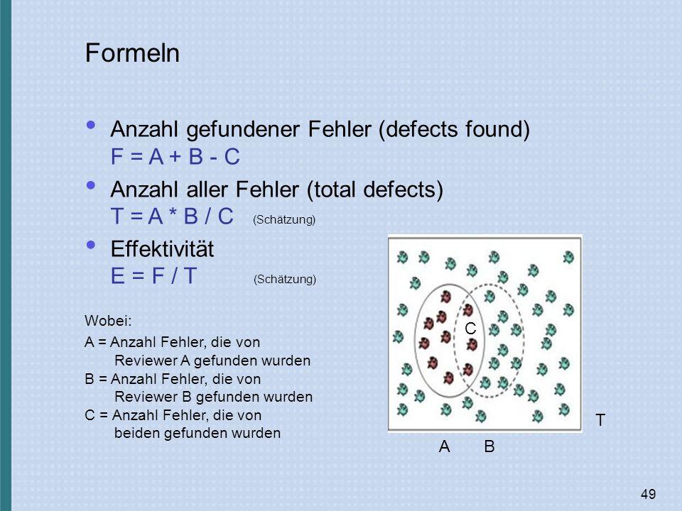 49 Formeln Anzahl gefundener Fehler (defects found) F = A + B - C Anzahl aller Fehler (total defects) T = A * B / C (Schätzung) Effektivität E = F / T (Schätzung) A C T B Wobei: A = Anzahl Fehler, die von Reviewer A gefunden wurden B = Anzahl Fehler, die von Reviewer B gefunden wurden C = Anzahl Fehler, die von beiden gefunden wurden