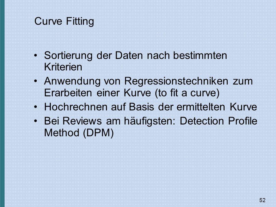 52 Curve Fitting Sortierung der Daten nach bestimmten Kriterien Anwendung von Regressionstechniken zum Erarbeiten einer Kurve (to fit a curve) Hochrechnen auf Basis der ermittelten Kurve Bei Reviews am häufigsten: Detection Profile Method (DPM)