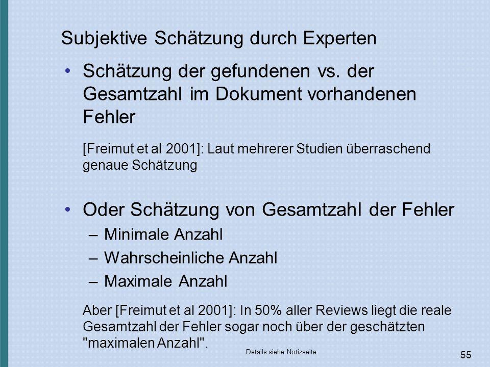 55 Subjektive Schätzung durch Experten Schätzung der gefundenen vs.