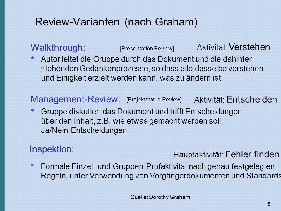 6 Hauptaktivität: Fehler finden Formale Einzel- und Gruppen-Prüfaktivität nach genau festgelegten Regeln, unter Verwendung von Vorgängerdokumenten und Standards.