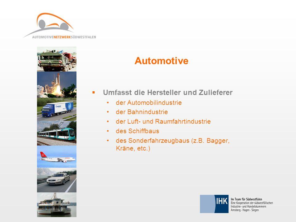 Umfasst die Hersteller und Zulieferer der Automobilindustrie der Bahnindustrie der Luft- und Raumfahrtindustrie des Schiffbaus des Sonderfahrzeugbaus (z.B.