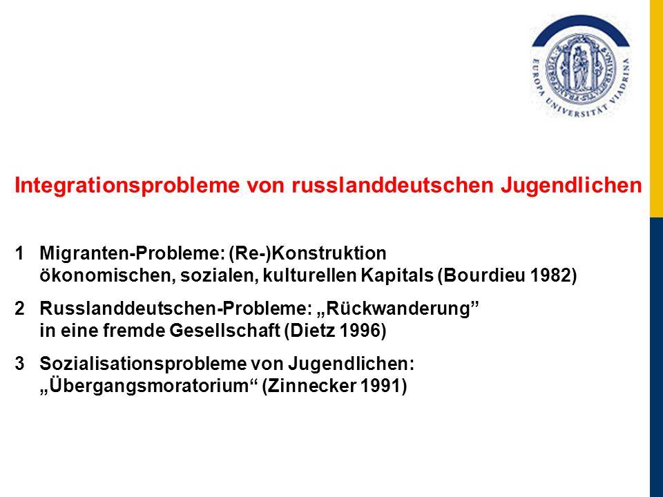 Integrationsprobleme von russlanddeutschen Jugendlichen 1Migranten-Probleme: (Re-)Konstruktion ökonomischen, sozialen, kulturellen Kapitals (Bourdieu