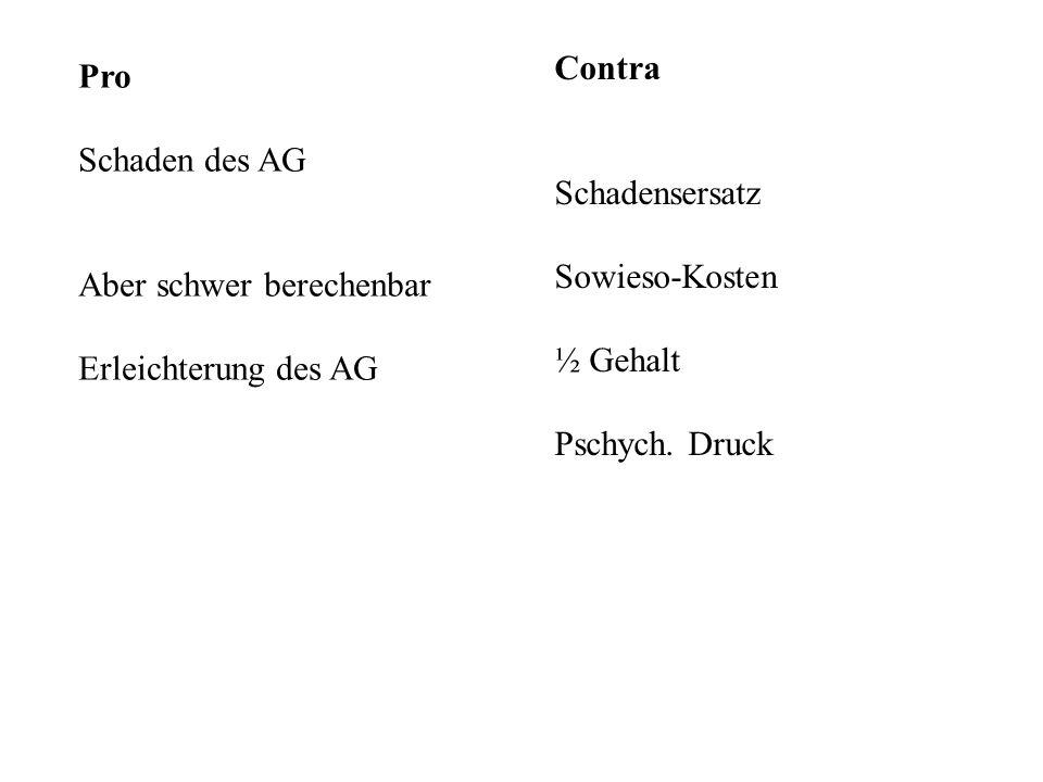 Pro Schaden des AG Aber schwer berechenbar Erleichterung des AG Contra Schadensersatz Sowieso-Kosten ½ Gehalt Pschych. Druck