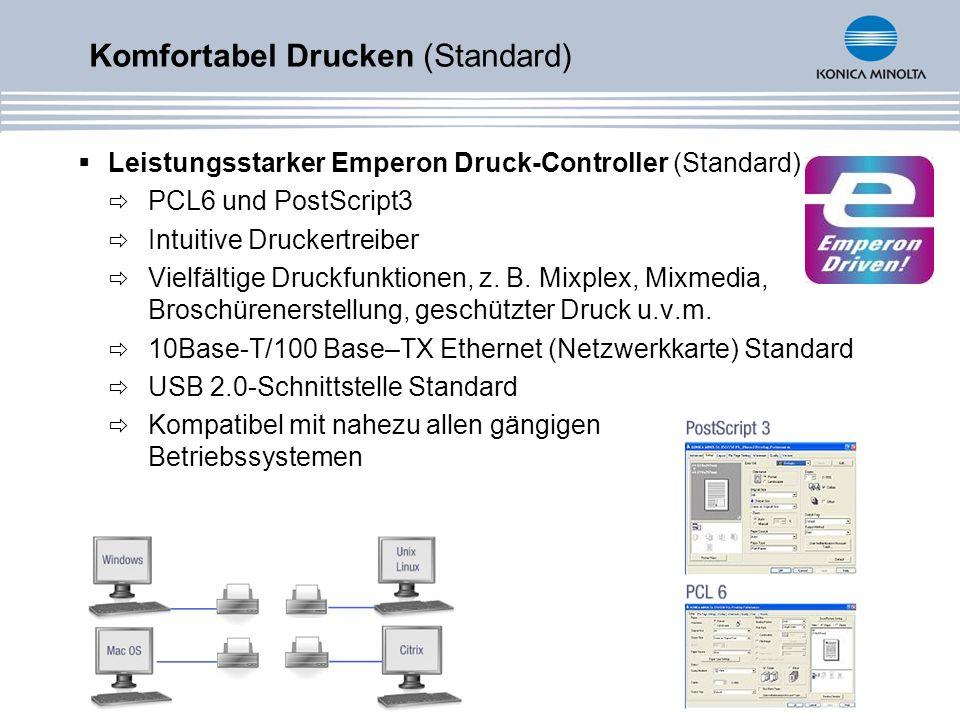 Leistungsstarker Emperon Druck-Controller (Standard) PCL6 und PostScript3 Intuitive Druckertreiber Vielfältige Druckfunktionen, z. B. Mixplex, Mixmedi