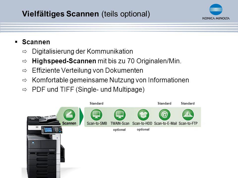 Vielfältiges Scannen (teils optional) Scannen Digitalisierung der Kommunikation Highspeed-Scannen mit bis zu 70 Originalen/Min. Effiziente Verteilung