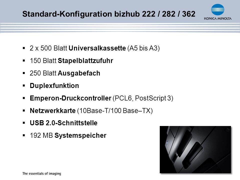 Standard-Konfiguration bizhub 222 / 282 / 362 2 x 500 Blatt Universalkassette (A5 bis A3) 150 Blatt Stapelblattzufuhr 250 Blatt Ausgabefach Duplexfunk