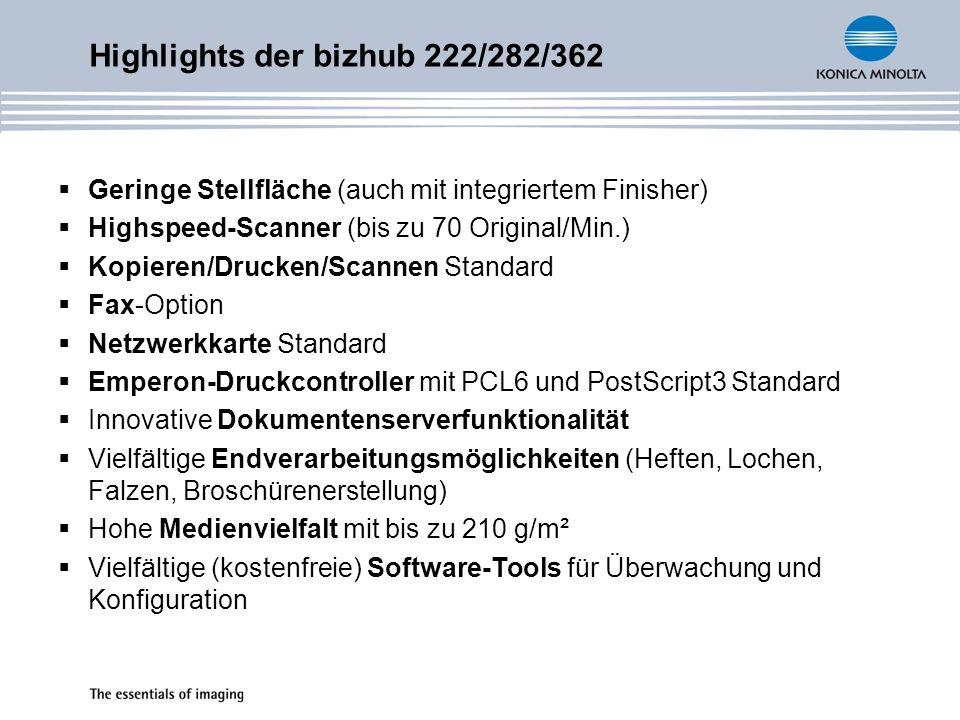 Geringe Stellfläche (auch mit integriertem Finisher) Highspeed-Scanner (bis zu 70 Original/Min.) Kopieren/Drucken/Scannen Standard Fax-Option Netzwerk