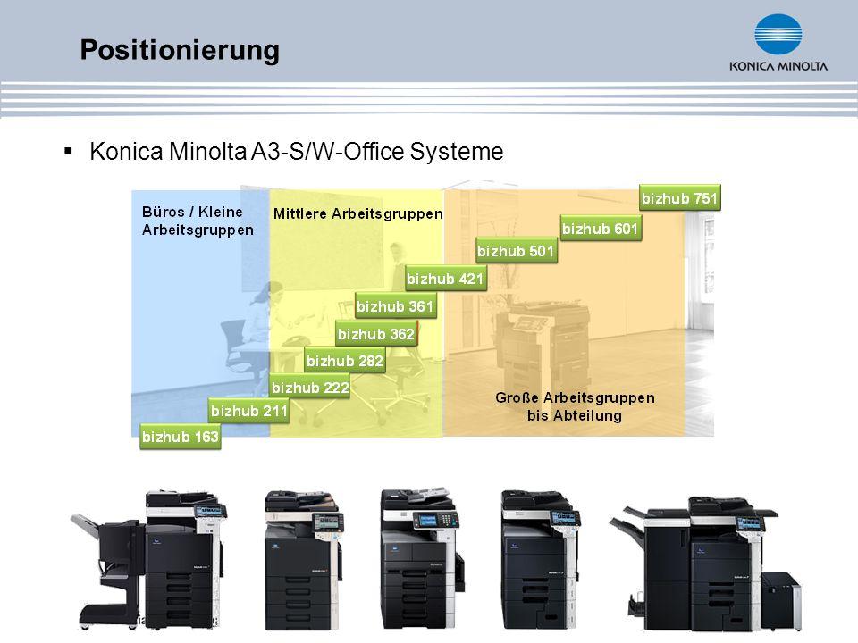 bizhub 222/282/362 - Multifunktional in S/W Kopieren Drucken PCL 6 PostScript 3 Scannen Scan-to-E-Mail Scan-to-FTP Scan-to-SMB Scannen Netzwerk-TWAIN-Scan Scan-to-HDD Fax Boxfunktionalität (mit HDD) Standard Optional
